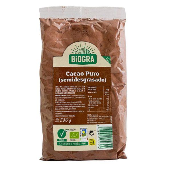 Cacao Puro Semidesgrasado 250g Biográ vegano