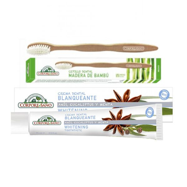 Crema dental Blanqueante con cepillo de bambú BIO Corpore Sano