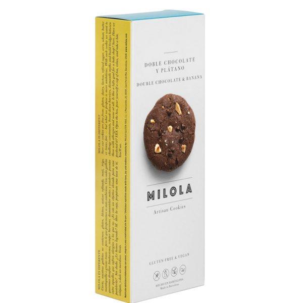 Artesanas Galletas doble chocolate y plátano sin gluten Milola