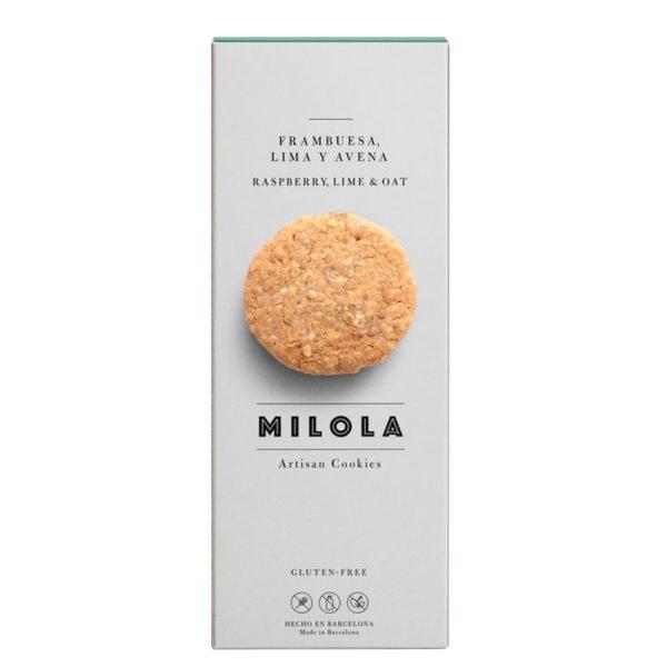 Artesanas galletas de frambuesa, lima y avena sin gluten Milola
