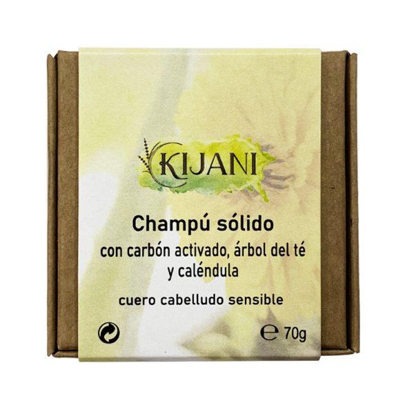 Champú Sólido con carbón activado, árbol del té y caléndula 70g Kijani