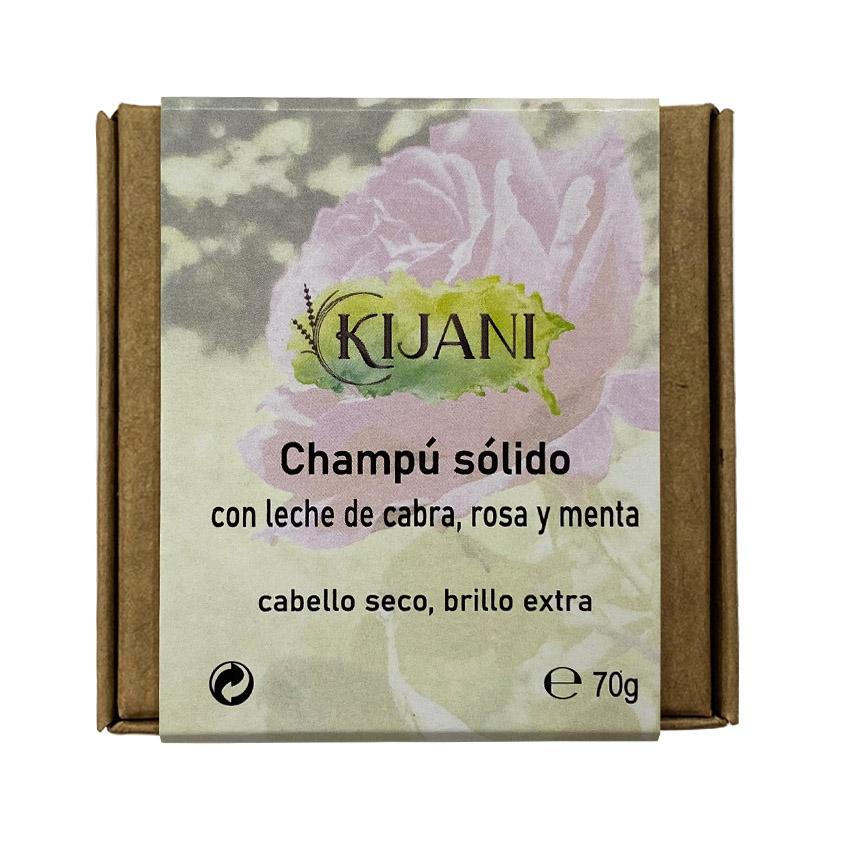 Champú Sólido con leche de cabra, rosa y menta 70g Kijani