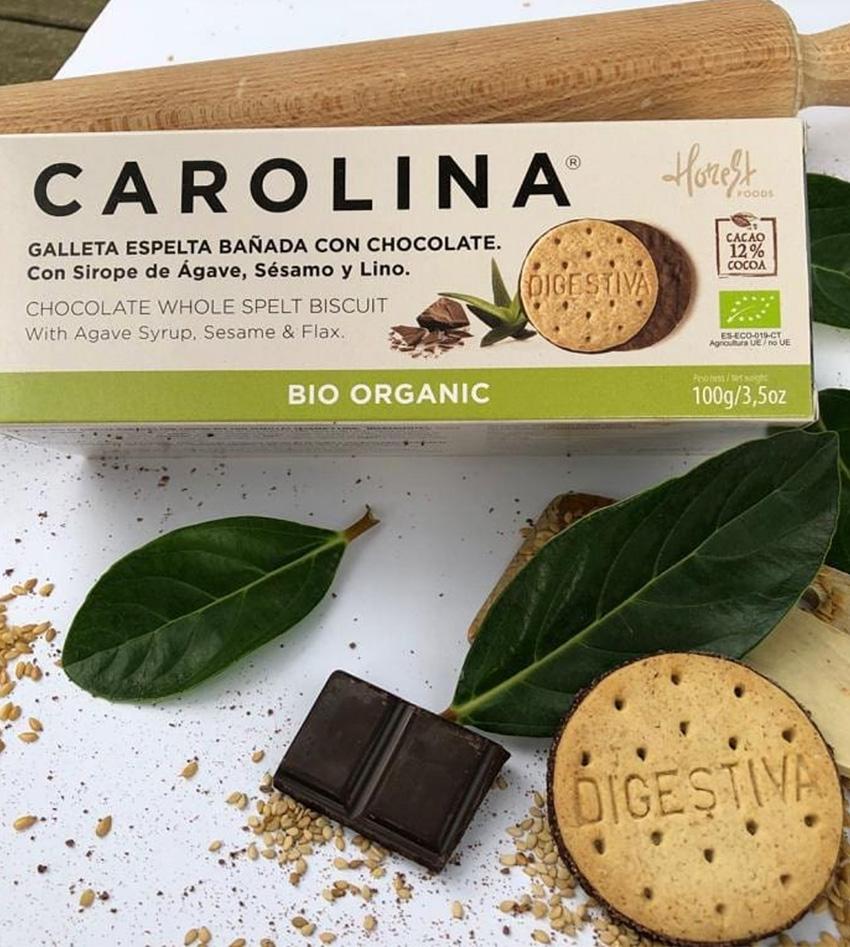 Galleta Bio Digestive Espelta Integral Bañada Chocolate, Sirope de Ágave, Semillas de Sésamo y Lino Carolina