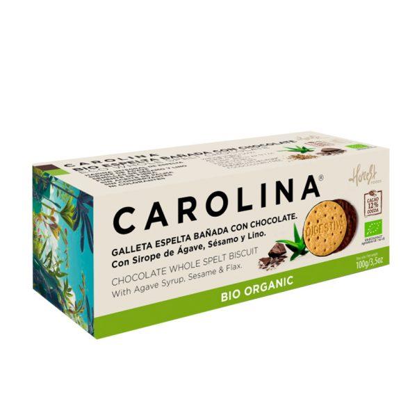 Galleta Bio Digestive Espelta Integral Bañada con Chocolate, Sirope de Ágave, Semillas de Sésamo y Lino Carolina